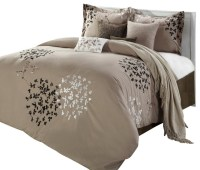 Cheila Taupe Comforter Bed in a Bag Set - Queen 8-Piece ...