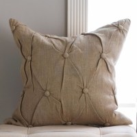 Button Tufted Natural Linen Pillow