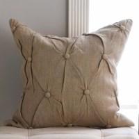 Button Tufted Natural Linen Pillow