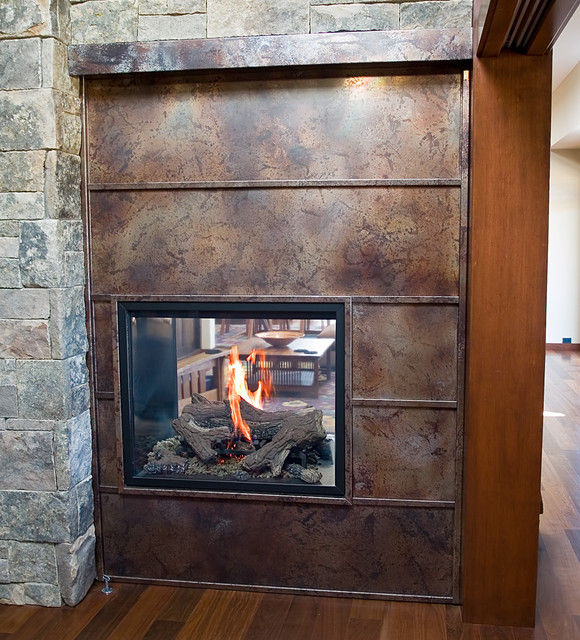 Volcanic Stainless Steel Fireplace Surround  Contemporary
