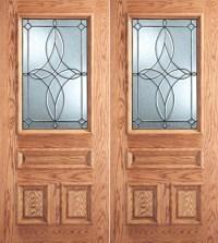 Diamond Design Decorative Glass, 3-Panel 1/2 Lite Front ...