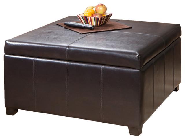 Berkeley Espresso Leather Storage Ottoman Coffee Table