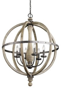 "Distressed Wood Hammered Metal 28"" Globe Chandelier ..."