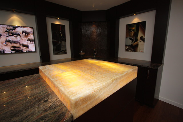 Lit Onyx Bar Top  Modern  Basement  cleveland  by