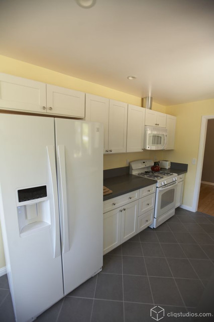 Simple White Galley Kitchen  Traditional  Kitchen