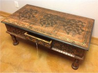 Hand Carved, Hand Painted, Teak Coffee Table from India ...