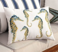 Indoor/Outdoor Seahorse Lumbar Pillow - Contemporary ...