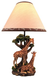 Giraffe Couple Table Lamp w/ Spotted Shade Nature ...