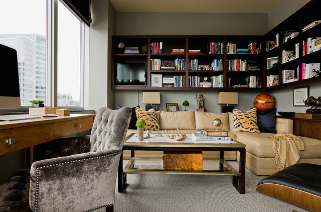 chair with built in bookshelf leather couch and set penthouse downtown boston - transitional home office by lovejoy designs