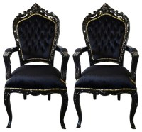 Pair of French Louis XV Style Black Armchairs - Victorian ...