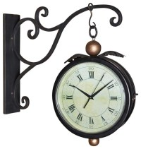 Iron Double Sided Clock With Hanging Wall Bracket ...