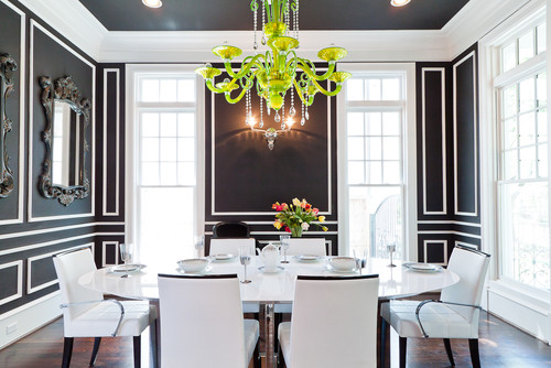 black dining room, green chandelier