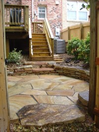 Fieldstone Patio with Stone Wall - Traditional - Patio ...
