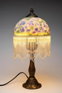 17.5 Inch Decorative Standing Lamp with Blue Pansies and ...