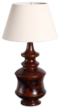 Country Style Vintage Finish Wooden Urn Table Lamp ...