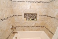 Furniture Vanity & Rectangle Sink & Glass Tile Inlay ...