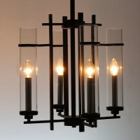 Modern Clear Glass Shades and Black Metal Chandelier ...