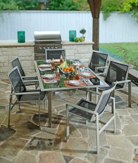 Modern Outdoor Furniture with Rustic Flagstone Tile ...