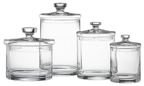 Glass Canisters Set of 4  Transitional  Bathroom
