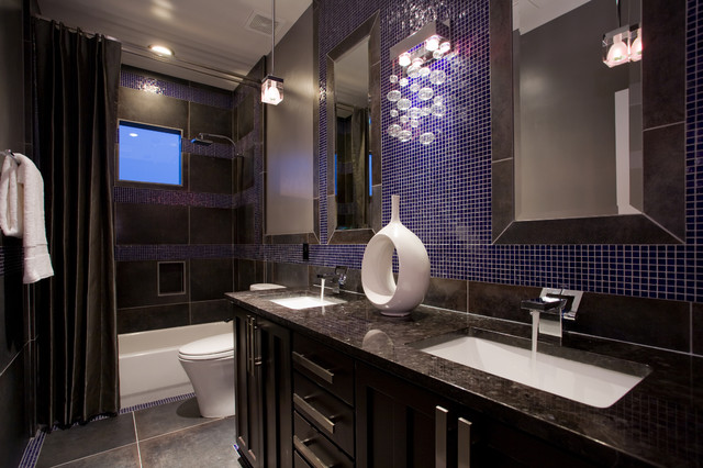 Blue glass mosaic bathroom  Contemporary  Bathroom