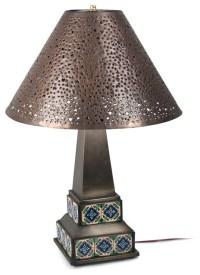 Mexican Aged Tin & Talavera Table Lamp - Craftsman - Table ...