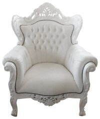 Large French Louis XV Rococo Style White Armchair ...