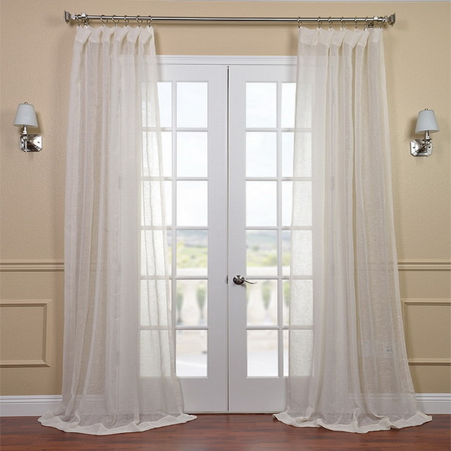 Linen Open Weave Cream Sheer Curtain Panel Contemporary Curtains By