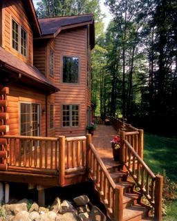 Flood Wood Care Rustic Log Cabin  Rustic  Deck  by