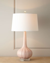 Pastel Pink Fluted Ceramic Lamp - Transitional - Table ...
