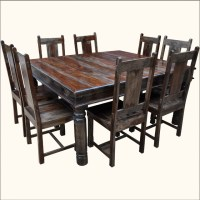 Large Solid Wood Square Dining Table & Chair Set For 8