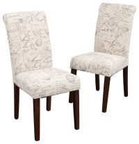Set of 2 Script Printed Linen Dining Chairs - Transitional ...