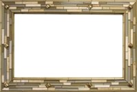 Stone mosaic mirror frame with metal inlay - Mediterranean ...