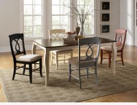 5 PC Cherry Ivory Wood Fixed Dining Room Set Table ...