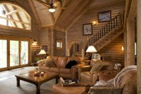 Log Home - Lavely traditional-living-room