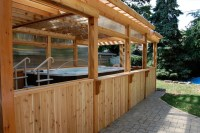 Enclosed Cedar Pergola for Outdoor Swim Spa - Traditional ...