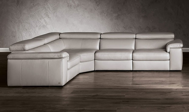 beige and brown leather sectional sofa with built in footrests colors fabio cinema