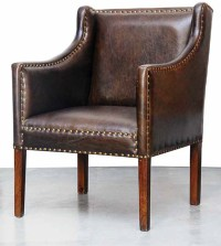 Carleton Brown Leather Accent Chair - Contemporary ...