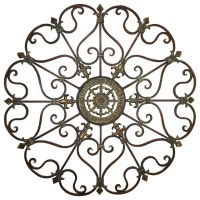 Brown Metal Wall Art Piece Fleur De Lis Elegant Scroll ...