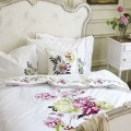 Portier white bedding with pink floral motif contemporary bedding