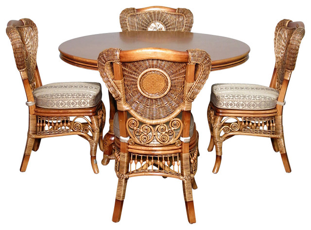 5 Pc Rattan Louis XVI Table W/ 4 Arm Chairs Dining Set
