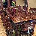 James james 8 farmhouse table in vintage dark walnut stain table