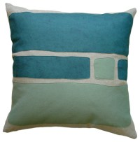 Felt Appliqu Linen Pillow, Big Block, Brook/Loden ...