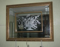 3-dimensional etched mirror in metallic silver finish ...