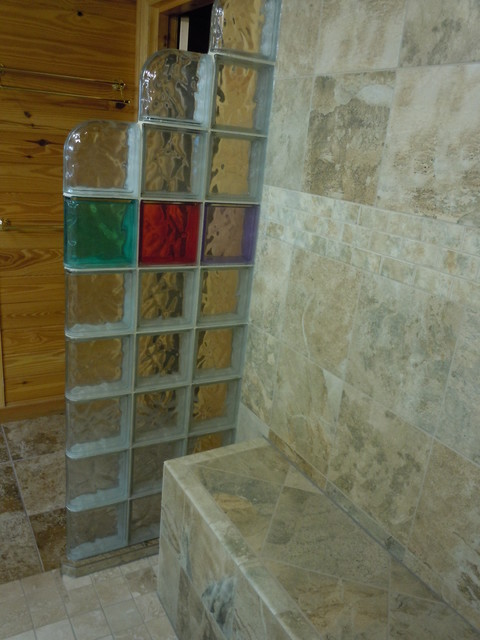 Glass block shower with colored blocks in collins georgia