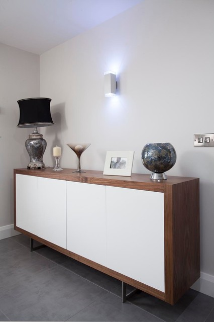 Walnut Amp High Gloss White Sideboard Contemporary
