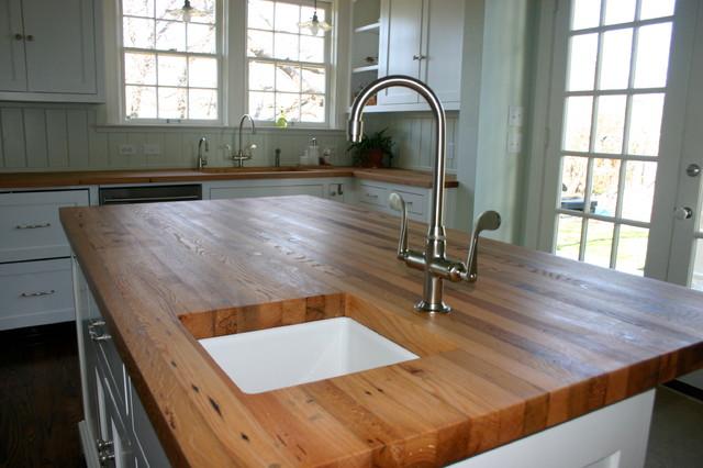 monarch kitchen island black pull down faucet reclaimed white oak wood tops - farmhouse ...