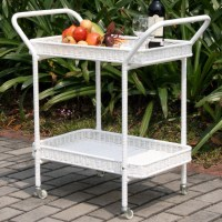 Outdoor White Wicker Patio Serving Cart - Modern - Outdoor ...
