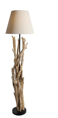 Bell Shade Artistic Driftwood Handcrafted Floor Lamp ...