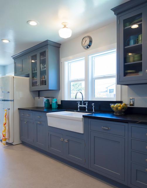 Vintage Blue Galley Kitchen  Traditional  Kitchen San