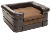 Rover Chocolate Brown Leather Dog Sofa Bed, Square ...
